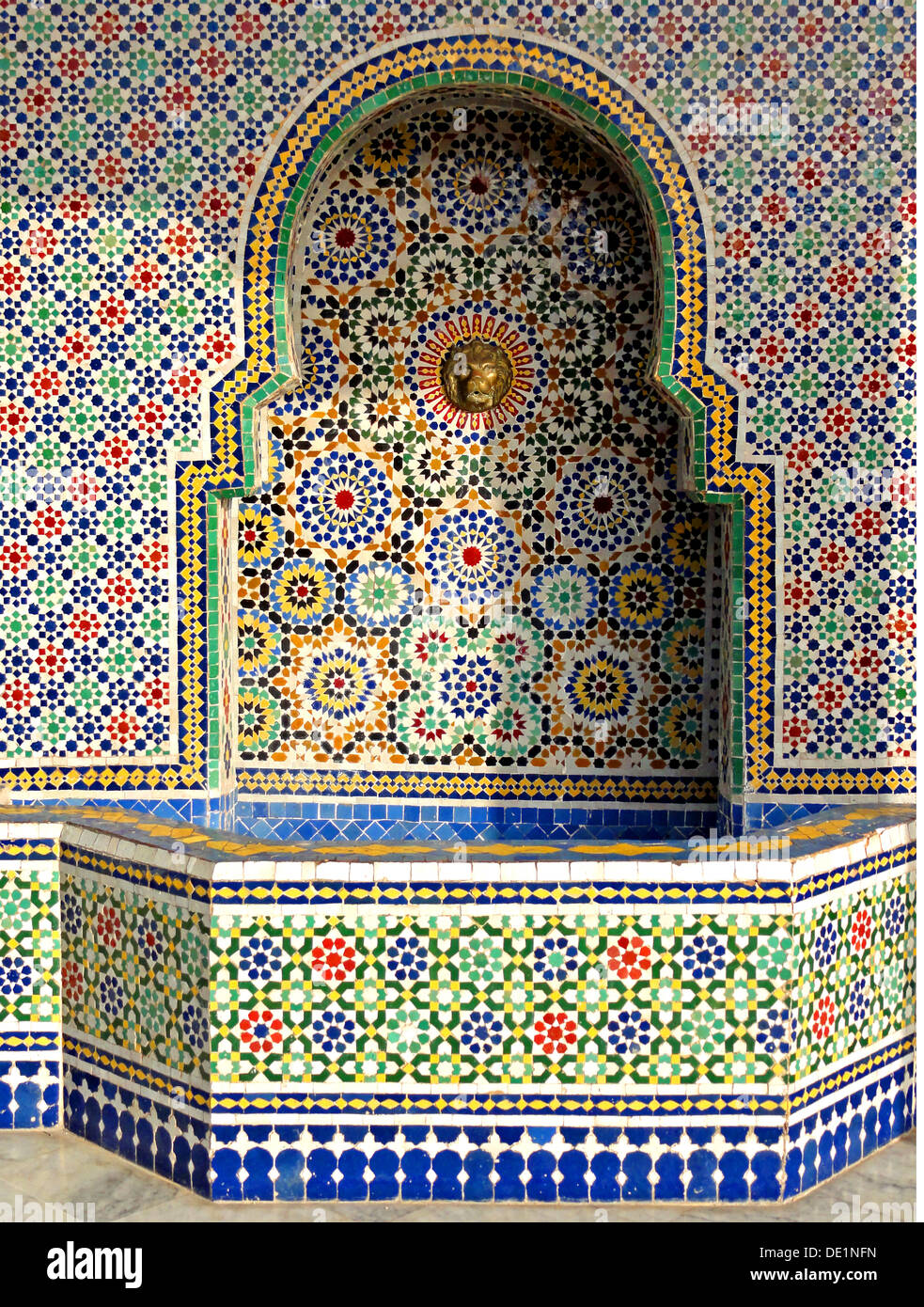 geography / travel, Morocco, Fes, mosaic fountain from of a workshop in Fes, Additional-Rights-Clearance-Info-Not-Available - Stock Image