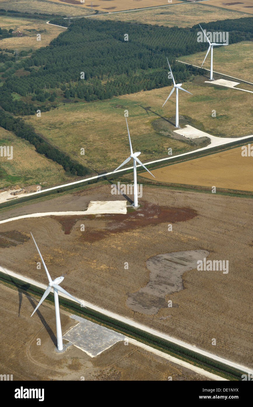 Aerial photograph of Wind Turbines near Beverley Yorkshire - Stock Image
