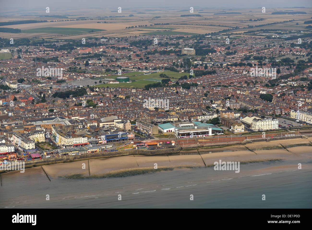 Aerial photograph of Bridlington Sea front - Stock Image