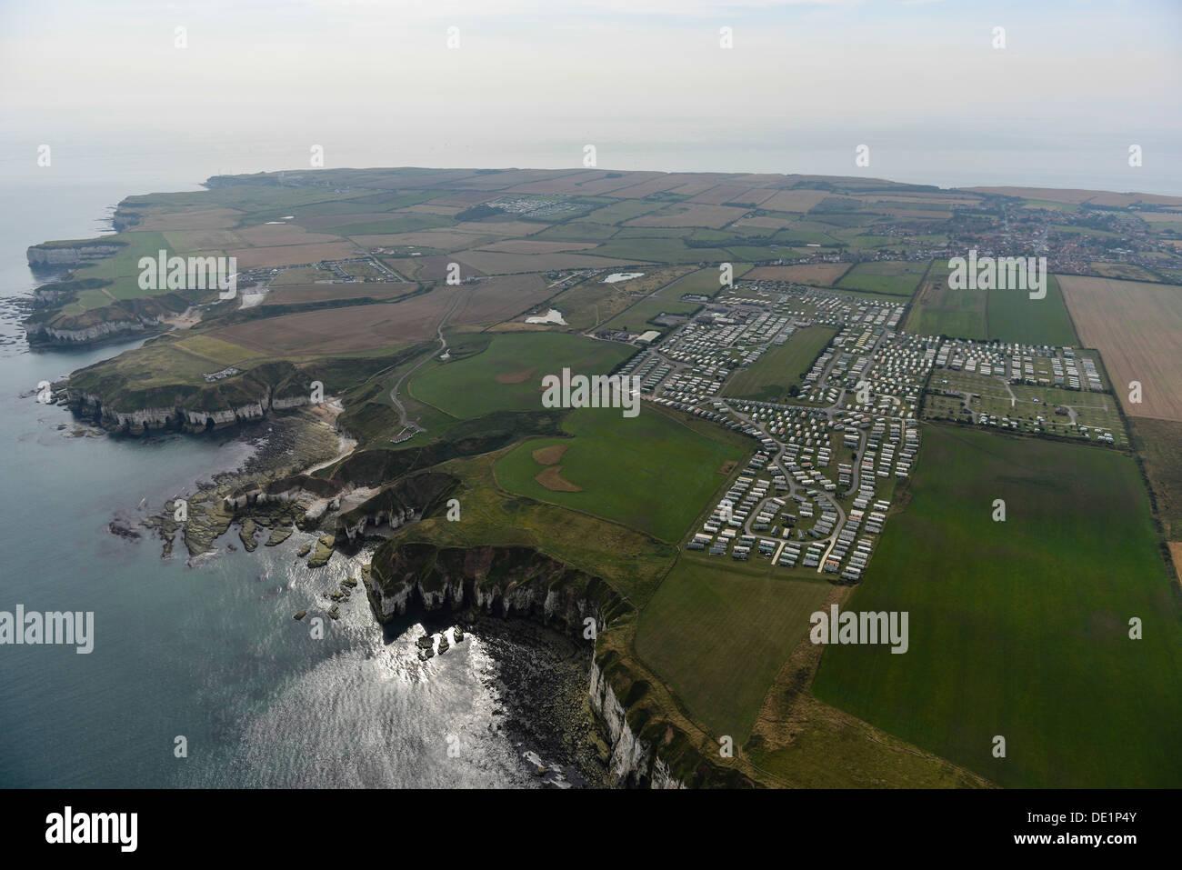 Aerial photograph of Yorkshire coast near Flamborough Head - Stock Image