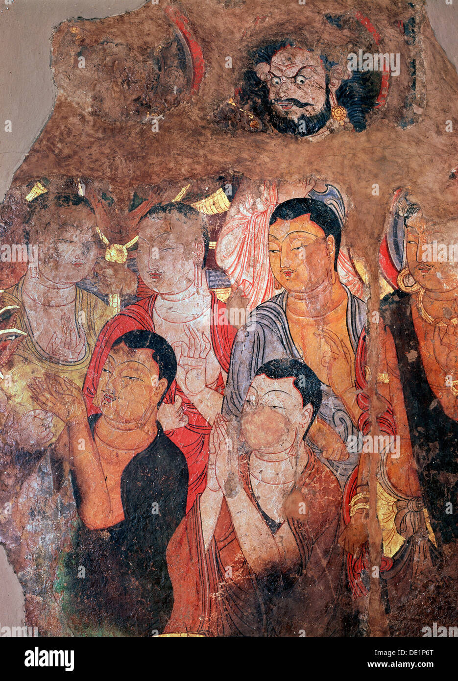 'Group of monks and Bodhisattvas', 9th-10th century. - Stock Image