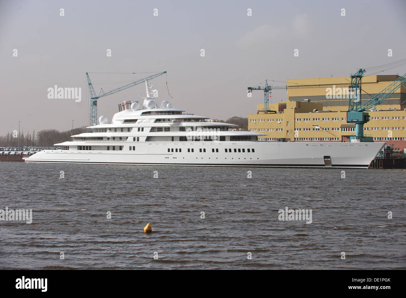 Bremen, Germany, the luxury - yacht Azzam is on the Weser Stock