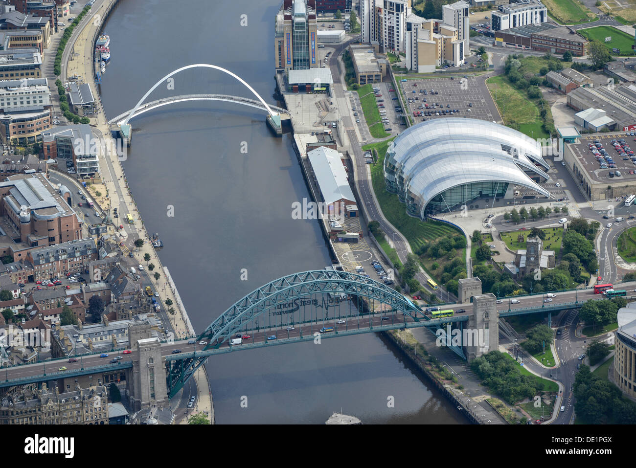 Aerial photograph of the Tyne Bridges and the Sage Gateshead Stock Photo