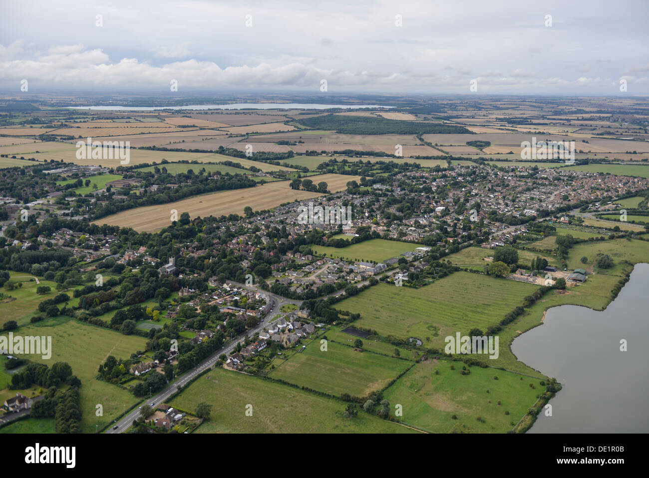Aerial photograph of Brampton in Cambridgeshire - Stock Image