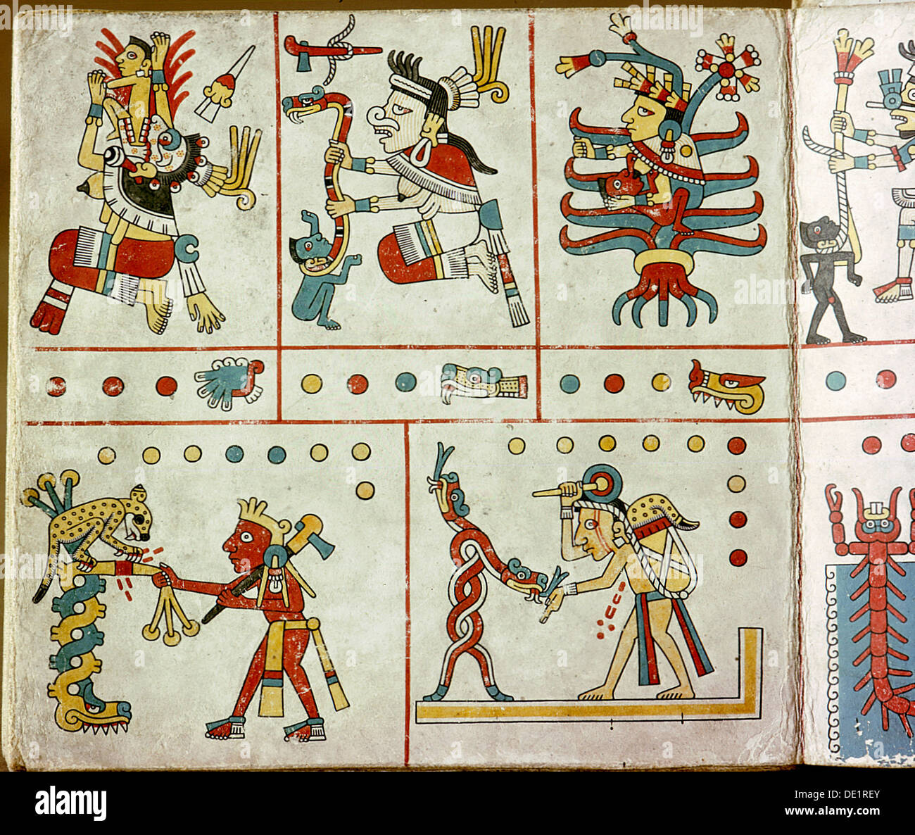 Page from the Codex Fejervary-Mayer, a ritual codex used as a birth chart. - Stock Image