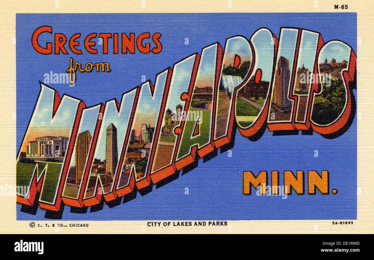 Greetings From Minneapolis Minnesota Postcard 1935 Stock Photo