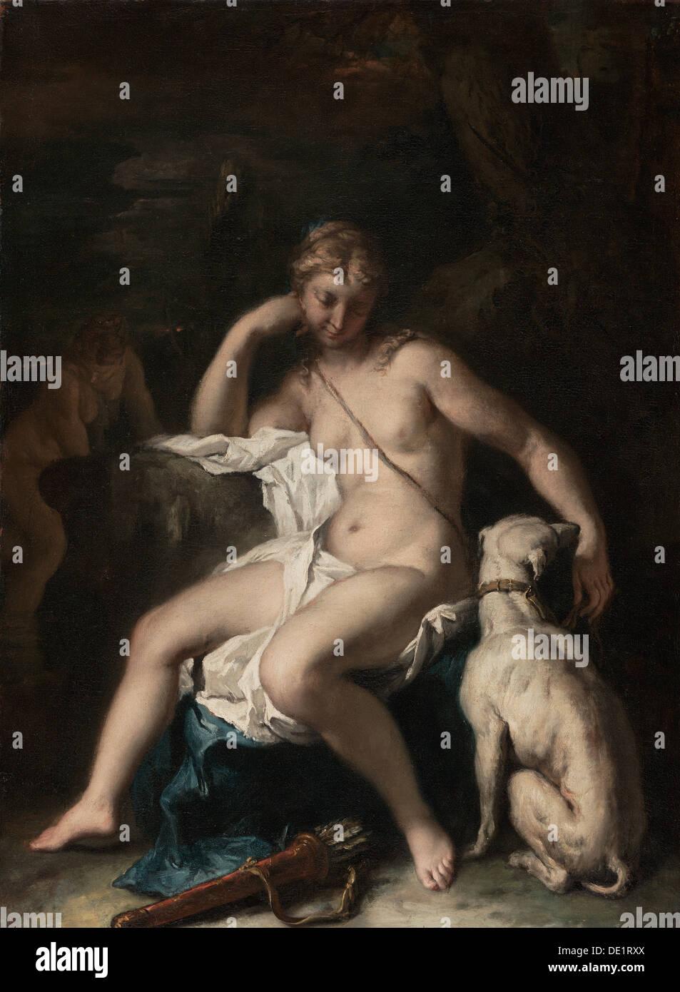 Diana and Her Dog; Sebastiano Ricci, Italian, 1659 - 1734; 1717 - 1720; Oil on canvas; Unframed: 74 x 55.6 cm (29 Stock Photo