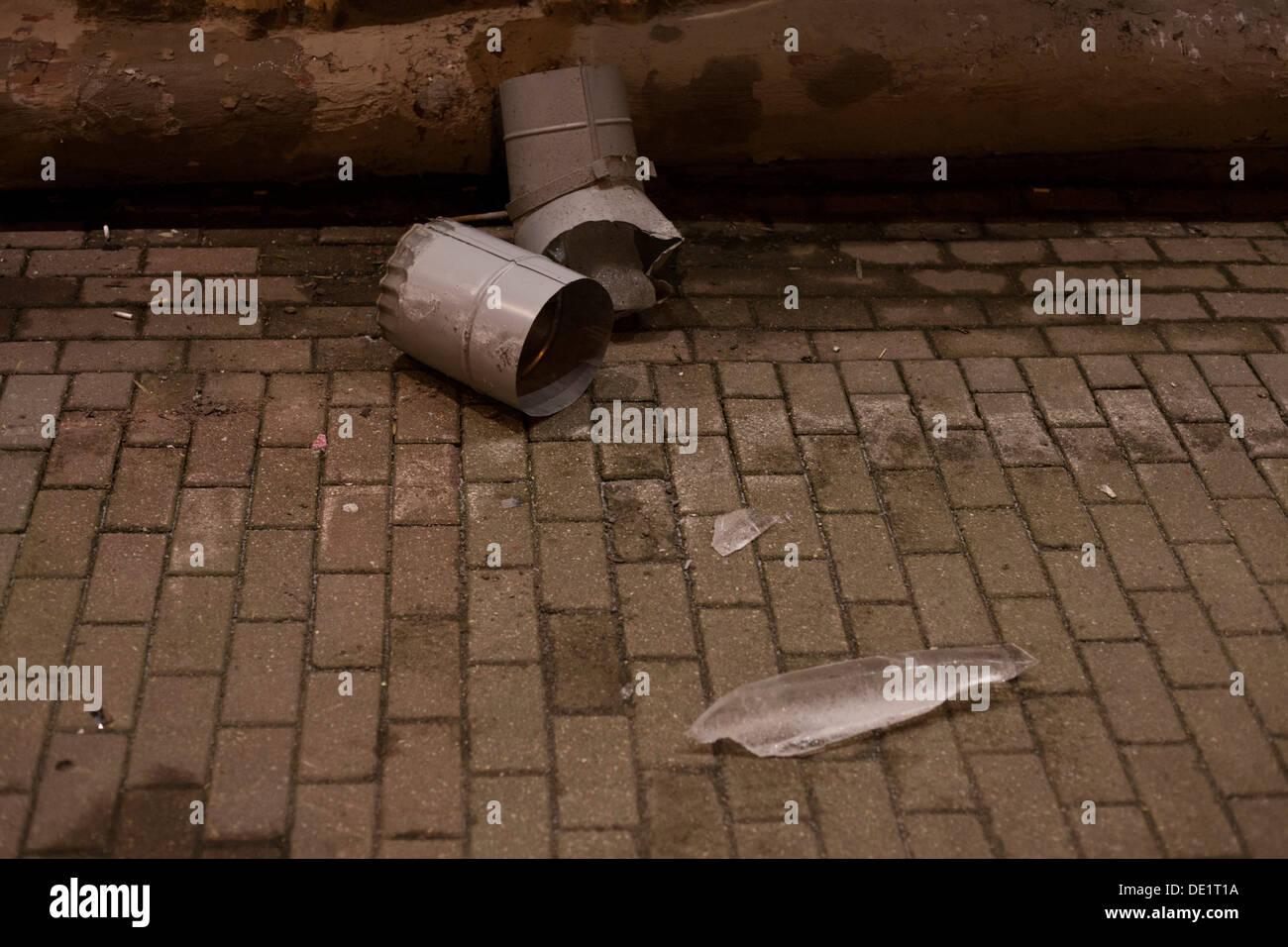 broken drainpipe, MInsk - Stock Image