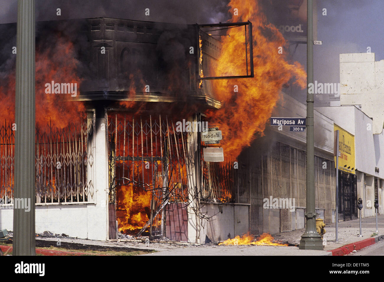 Scene from Los Angeles Riots, 1992. California. USA - Stock Image