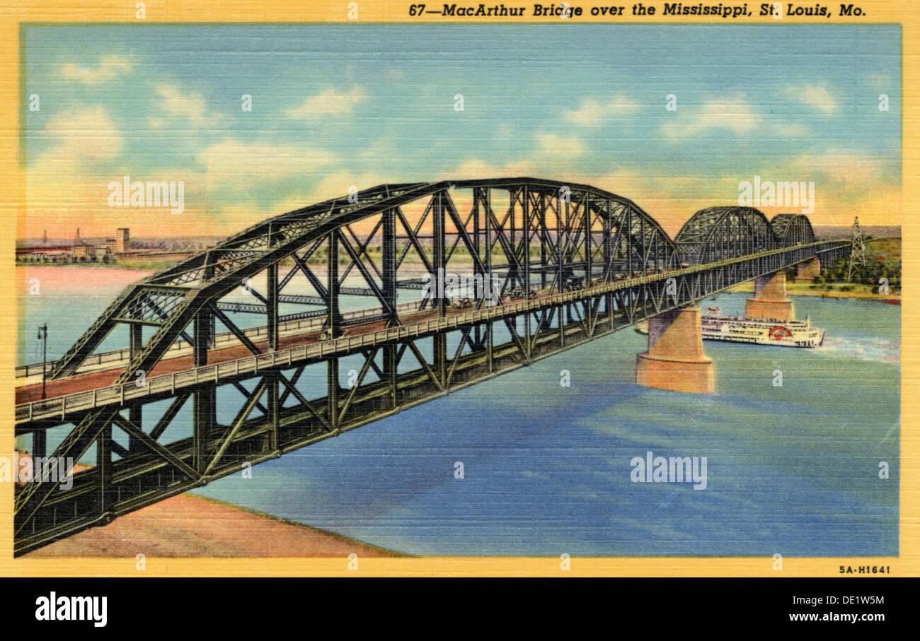 MacArthur Bridge over the Mississippi, St Louis, Missouri, USA, 1940s(?). - Stock Image