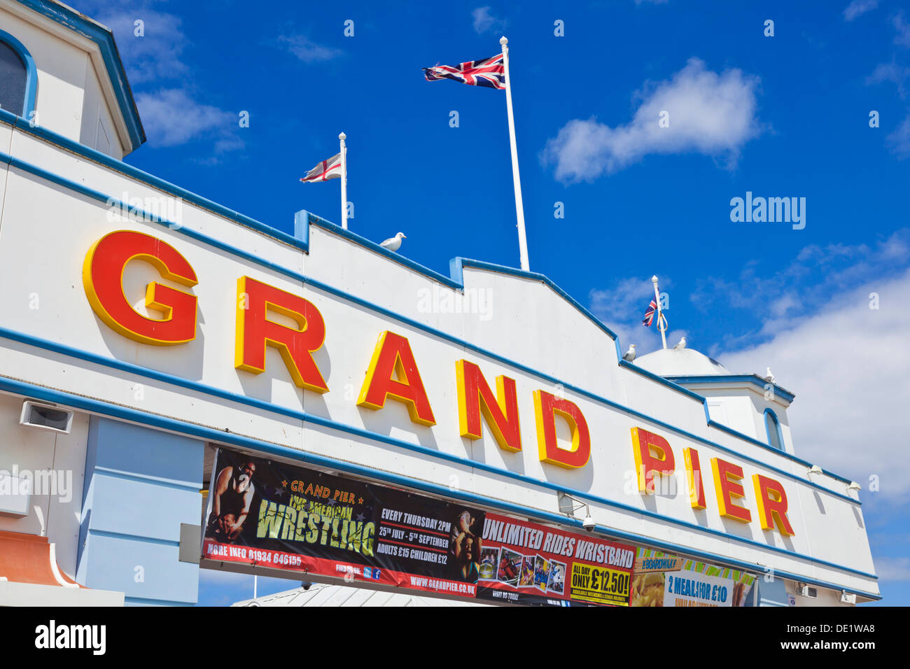 Weston Super Mare Grand Pier sign Weston-Super-Mare Somerset England UK GB EU Europe - Stock Image