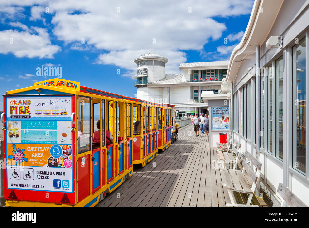 The little train on Weston Super Mare Grand Pier Weston-Super-Mare Somerset England UK GB EU Europe - Stock Image