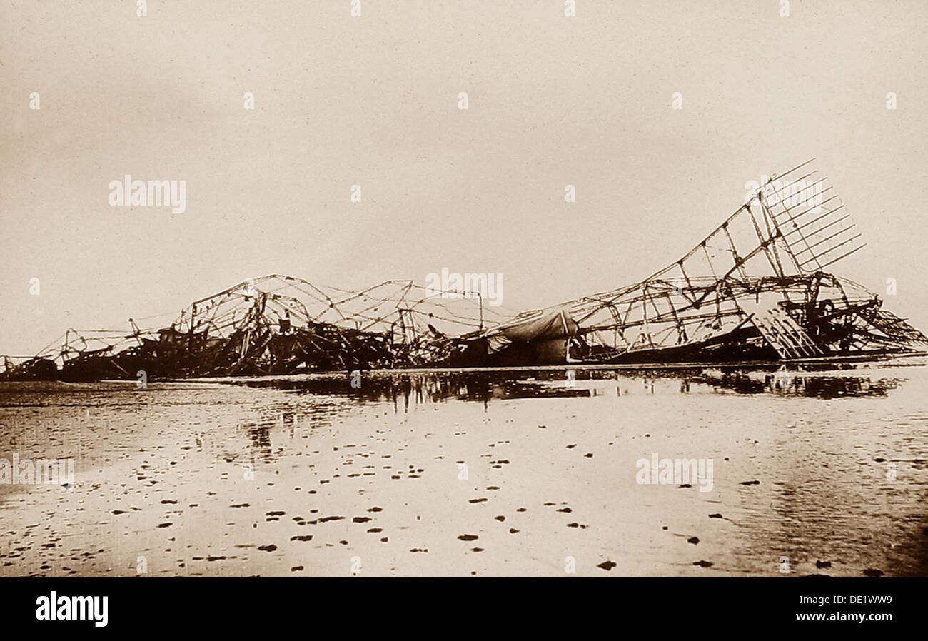 Wreck of Zeppelin L3 in the Faroe Islands early 1900s - Stock Image