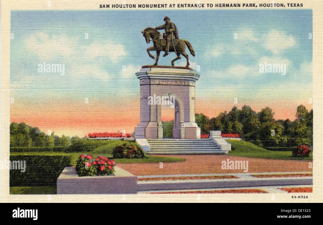sam houston monument at the entrance to hermann park houston texas