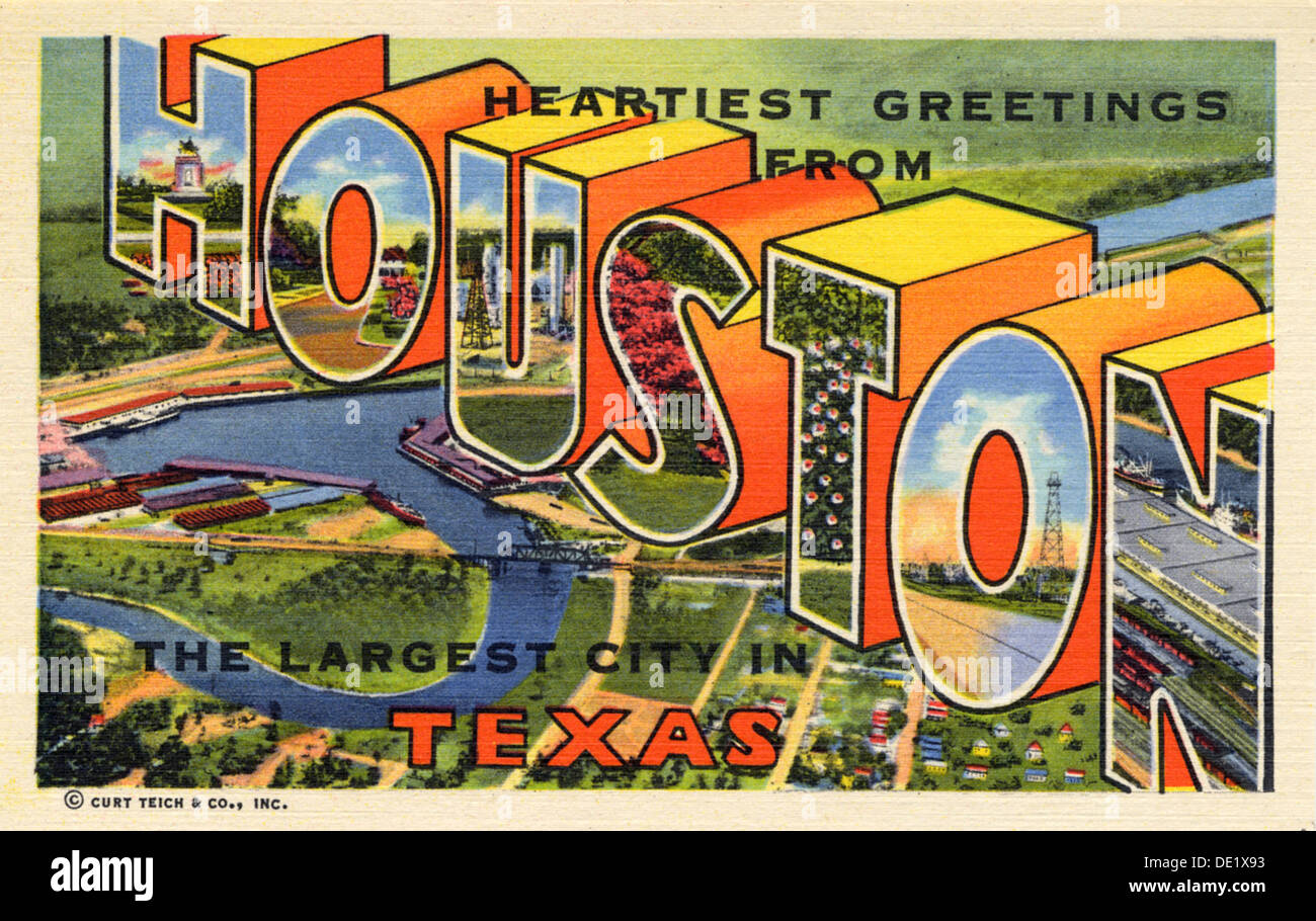 Greetings from texas postcard stock photos greetings from texas heartiest greetings from houston the largest city in texas postcard 1947 m4hsunfo
