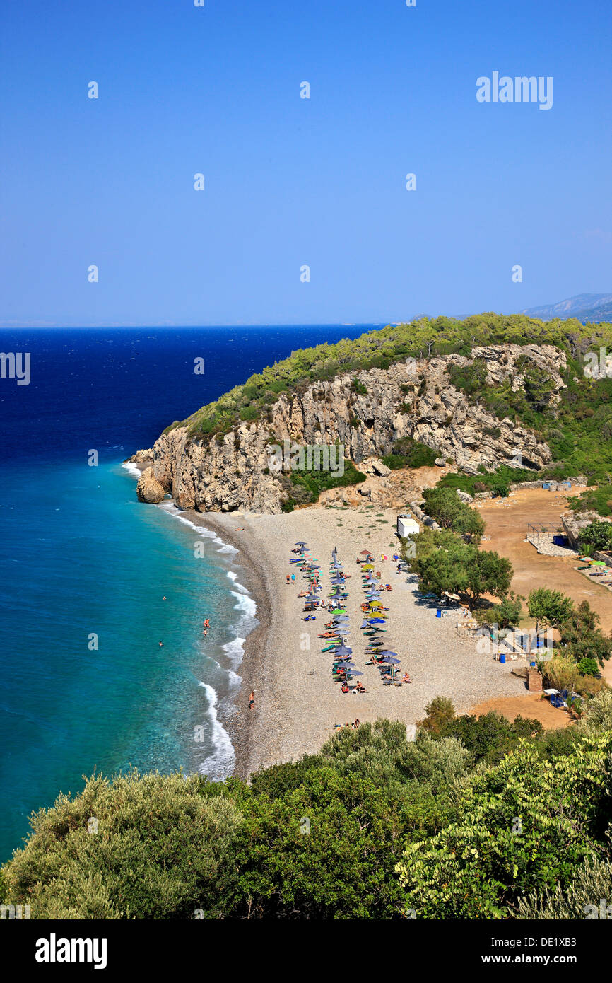 Tsambou beach, one of the most popular beaches of  Samos island, Aegean sea, Greece. - Stock Image