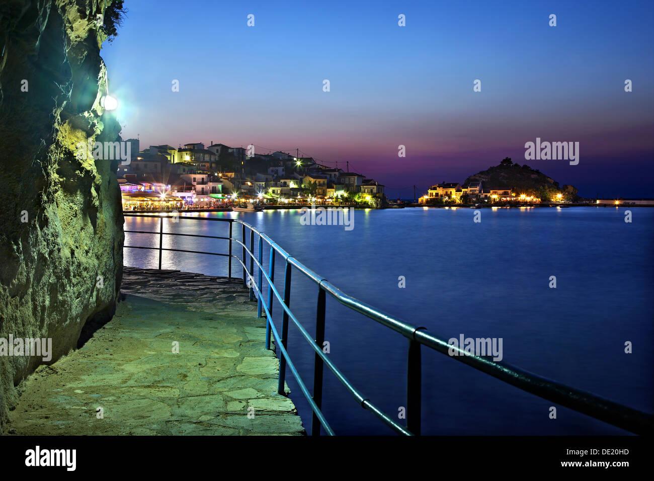 Night view of Kokkari village, one of the most popular tourist destinations in Samos island, Greece. - Stock Image