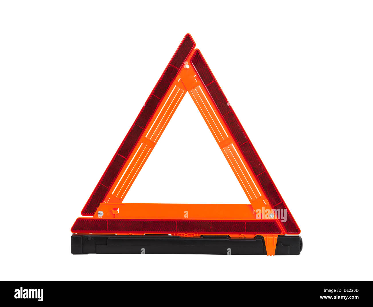 Emergency reflective road triangle isolated with clipping path. - Stock Image