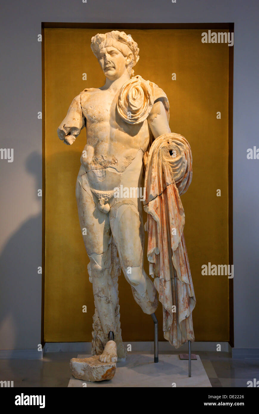 Statue of Roman emperor Trajan at the archaeological museum of Pythagorion, Samos island, Aegean Sea, Greece. Stock Photo