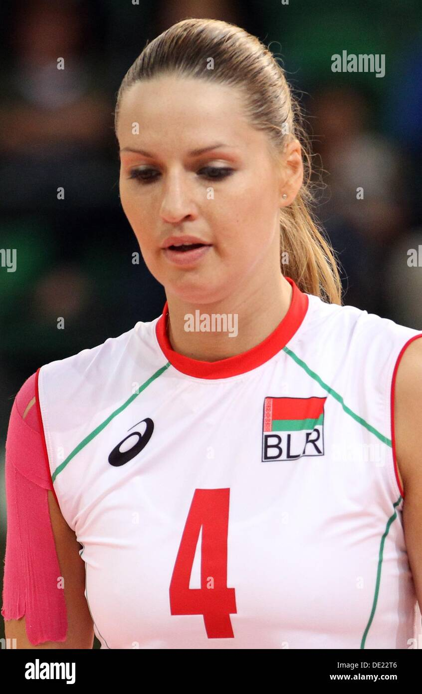 8b89a5e46 Hanna Kalinouskaya of Belarus looks dejected during their women s CEV  Volleyball European Championship Playoff match between Turkey and Belarus  at Gerry ...