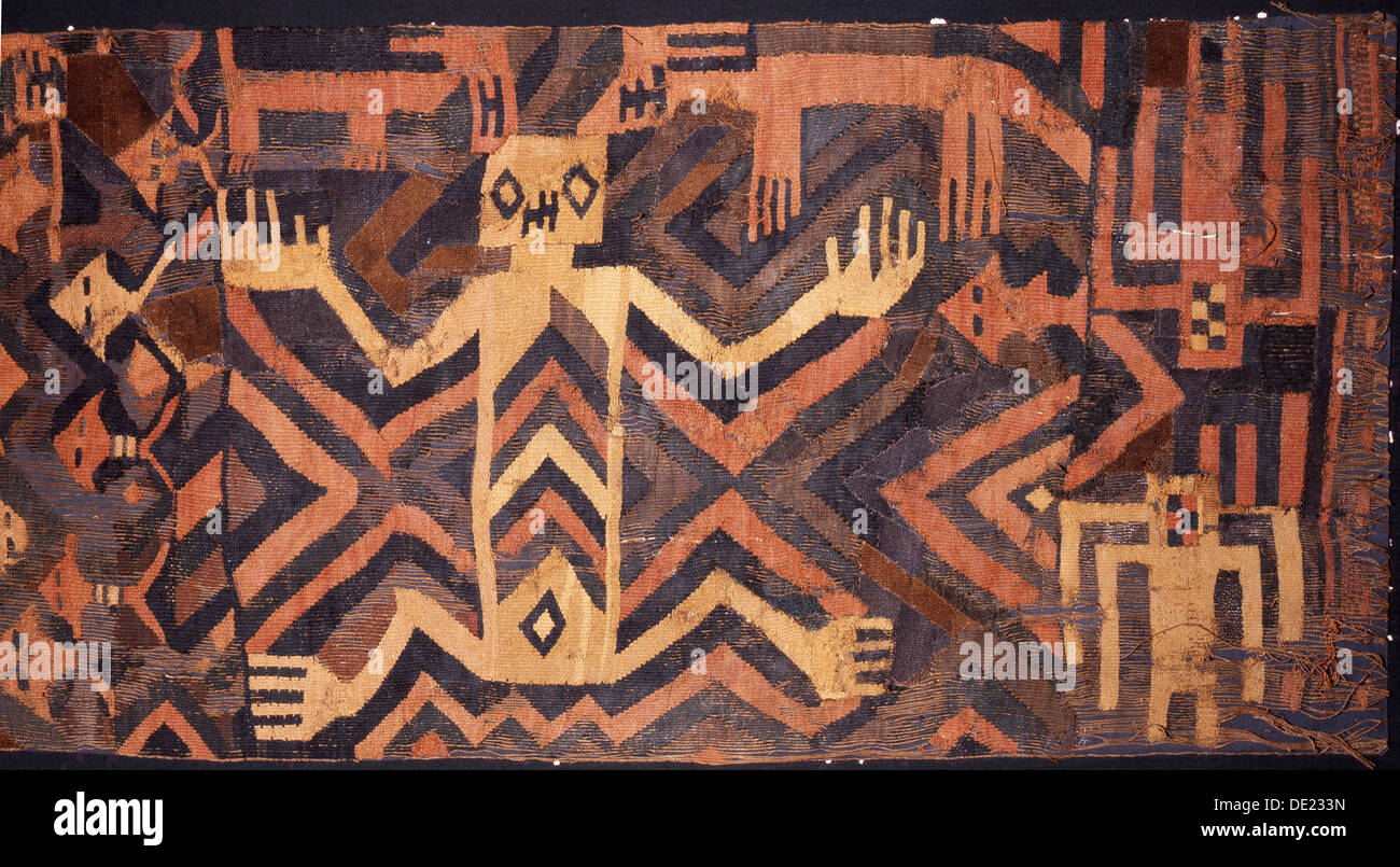 Textile with geometric and stylised humans design, possibly used during ceremonial processions. - Stock Image