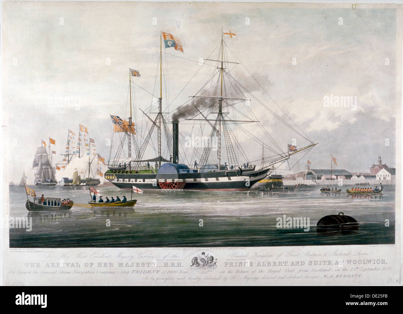 Queen Victoria and Prince Albert arriving at the Royal Dockyard, Woolwich, Kent, 1843. Artist: E Duncan - Stock Image
