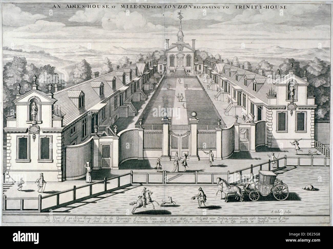 Trinity Almshouses, Mile End Road, Stepney, London, 1696.  Artist: Simon Gribelin Stock Photo