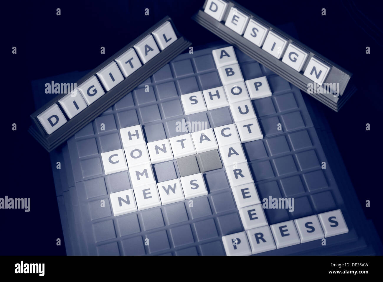 Letters spelling the words HOME, NEWS, CONTACT, CAREER, PRESS, ABOUT and SHOP on a game board and other letters forming the - Stock Image