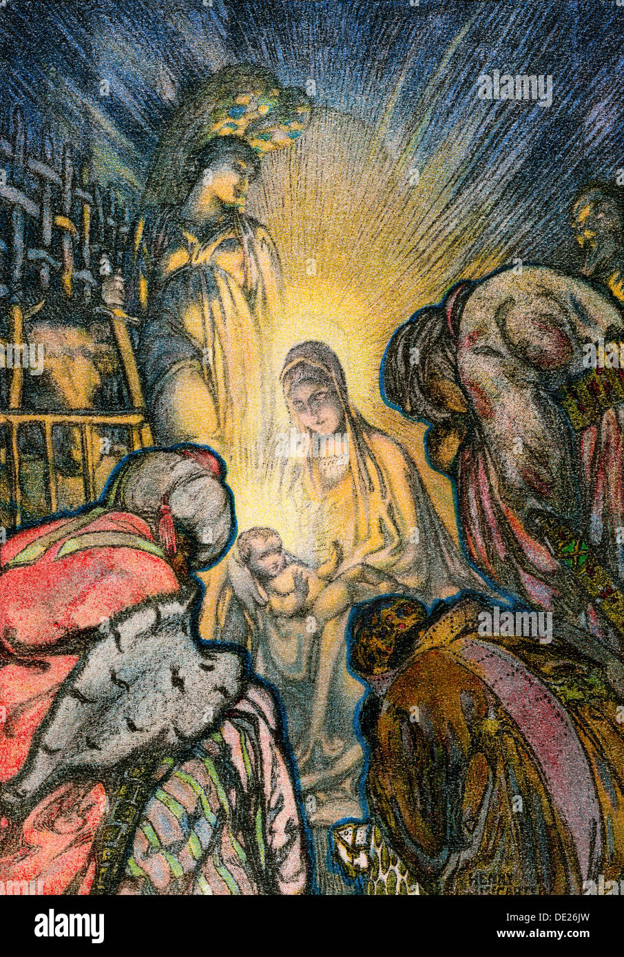Three Kings worshiping infant Jesus in Bethlehem.Color lithograph of an illustration - Stock Image
