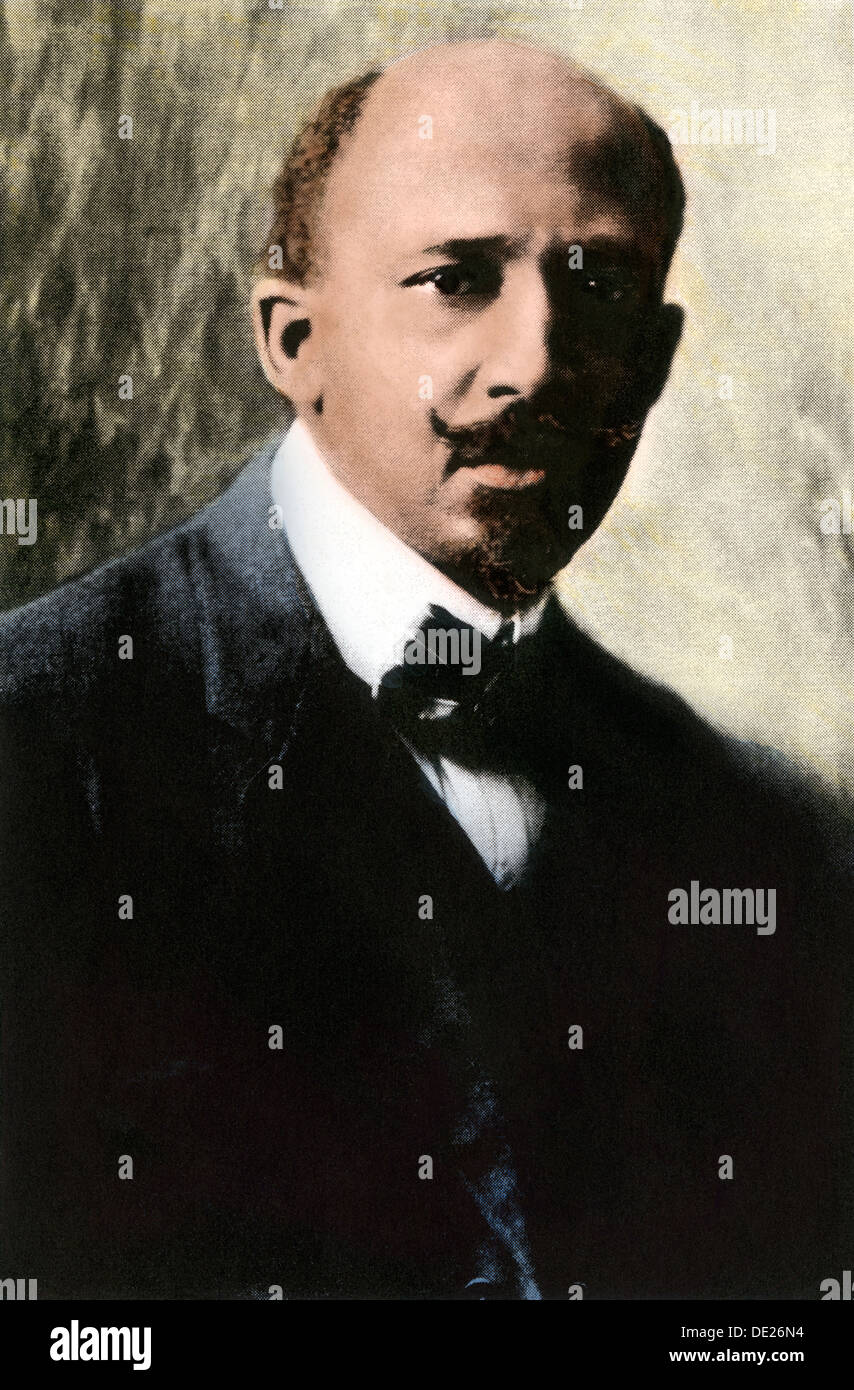 Educator W.E.B. Du Bois portrait. Hand-colored halftone reproduction of a photograph - Stock Image