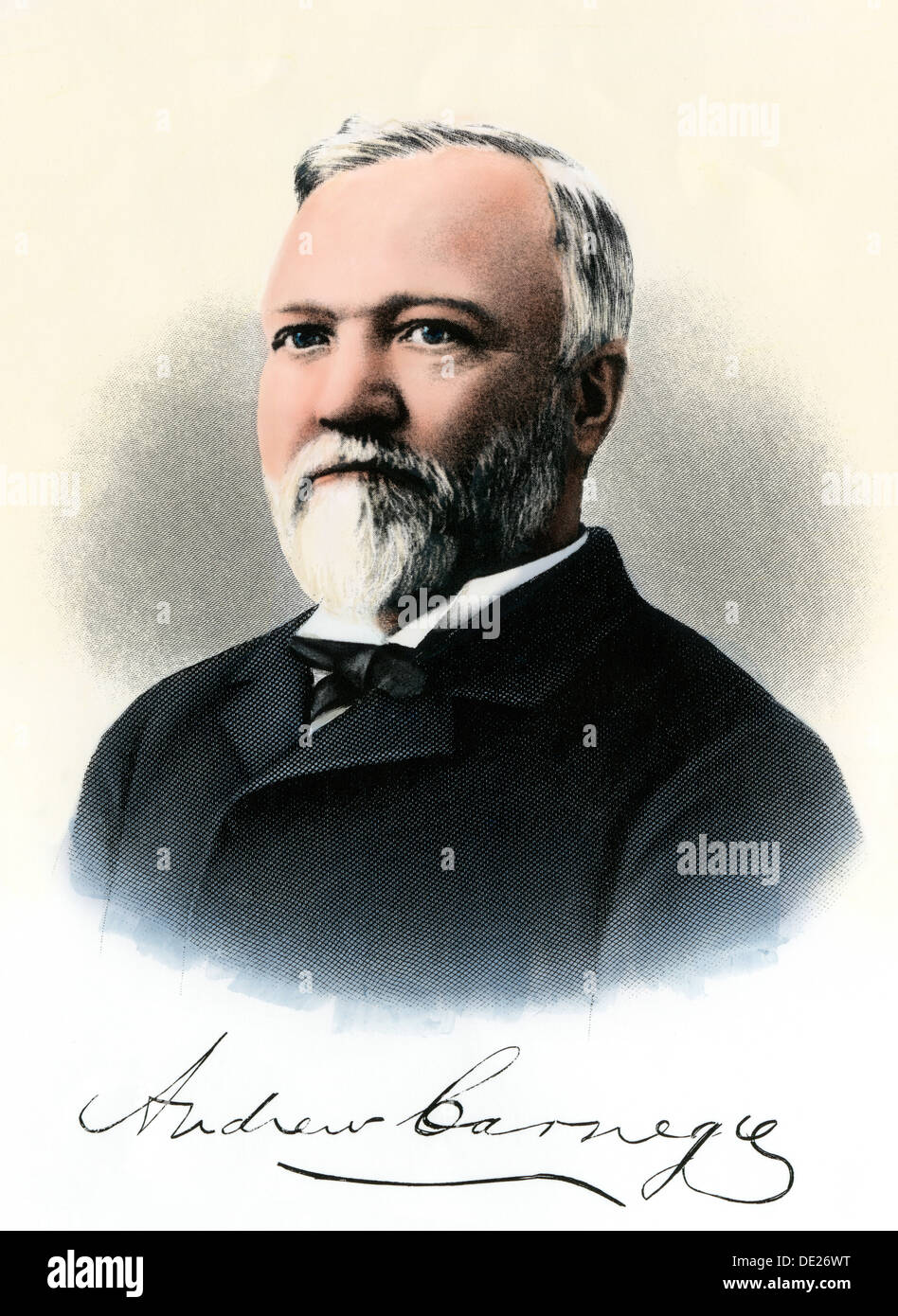 Andrew Carnegie portrat with autograph. Hand-colored steel engraving - Stock Image