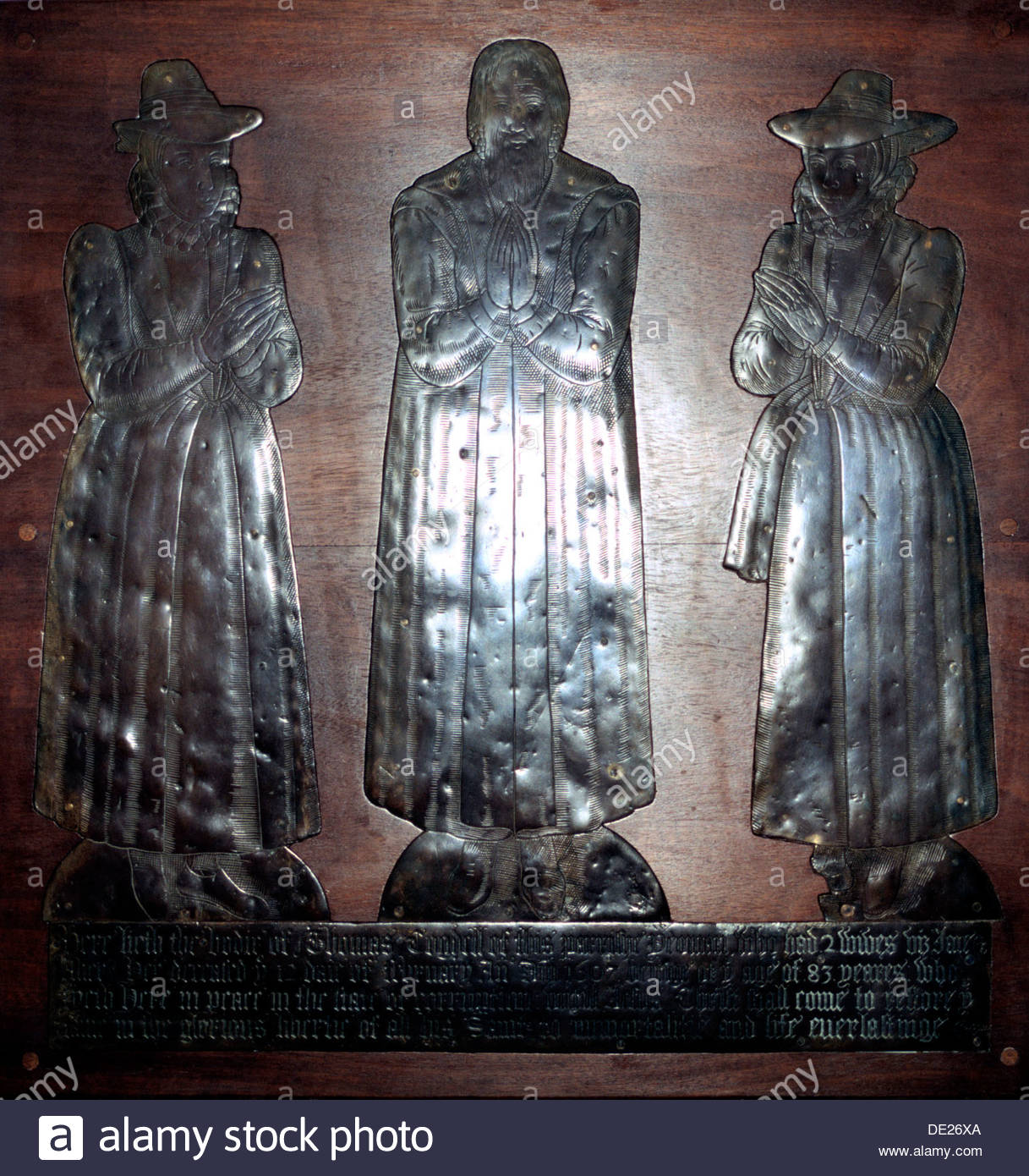Cogdell Brass, Stuart period, St Lawrence Church, Abbots Langley, Hertfordshire, 1607. Artist: Mike Maidment - Stock Image