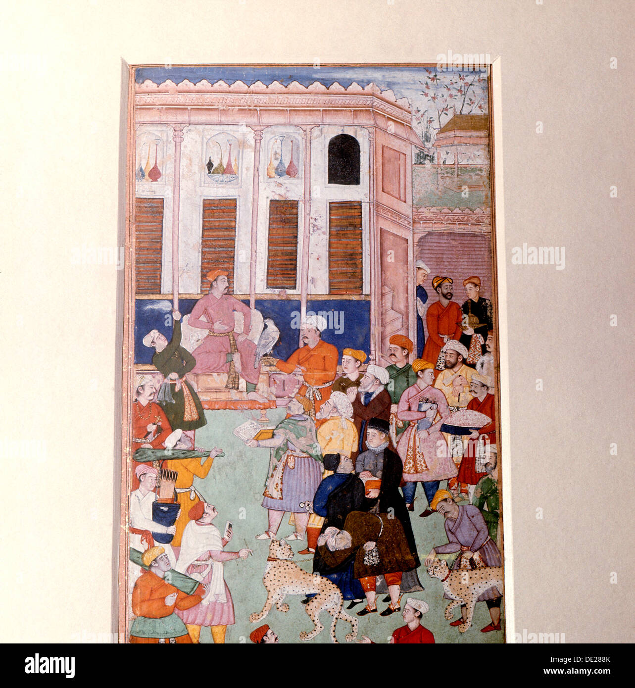 Akbar or Jahangir receiving gifts from guests. - Stock Image