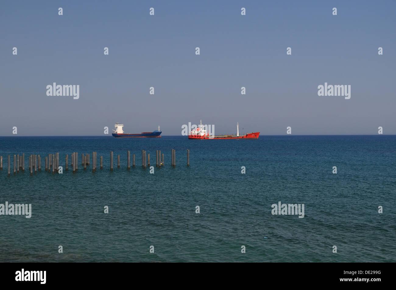 Ships near Limassol port - Stock Image