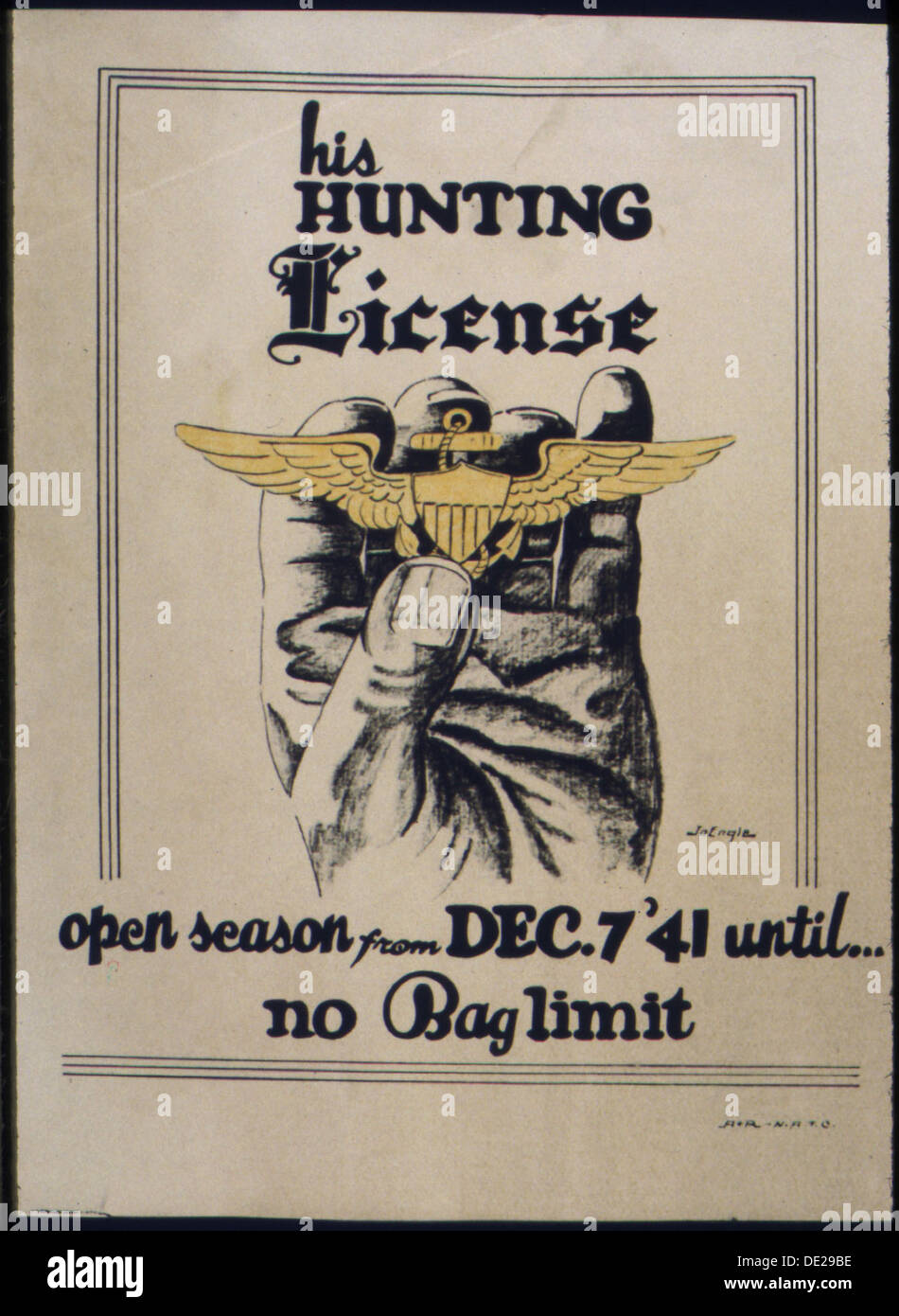 His hunting license. Open season from Dec. 7 6041 until... no bag limit. 535187 - Stock Image