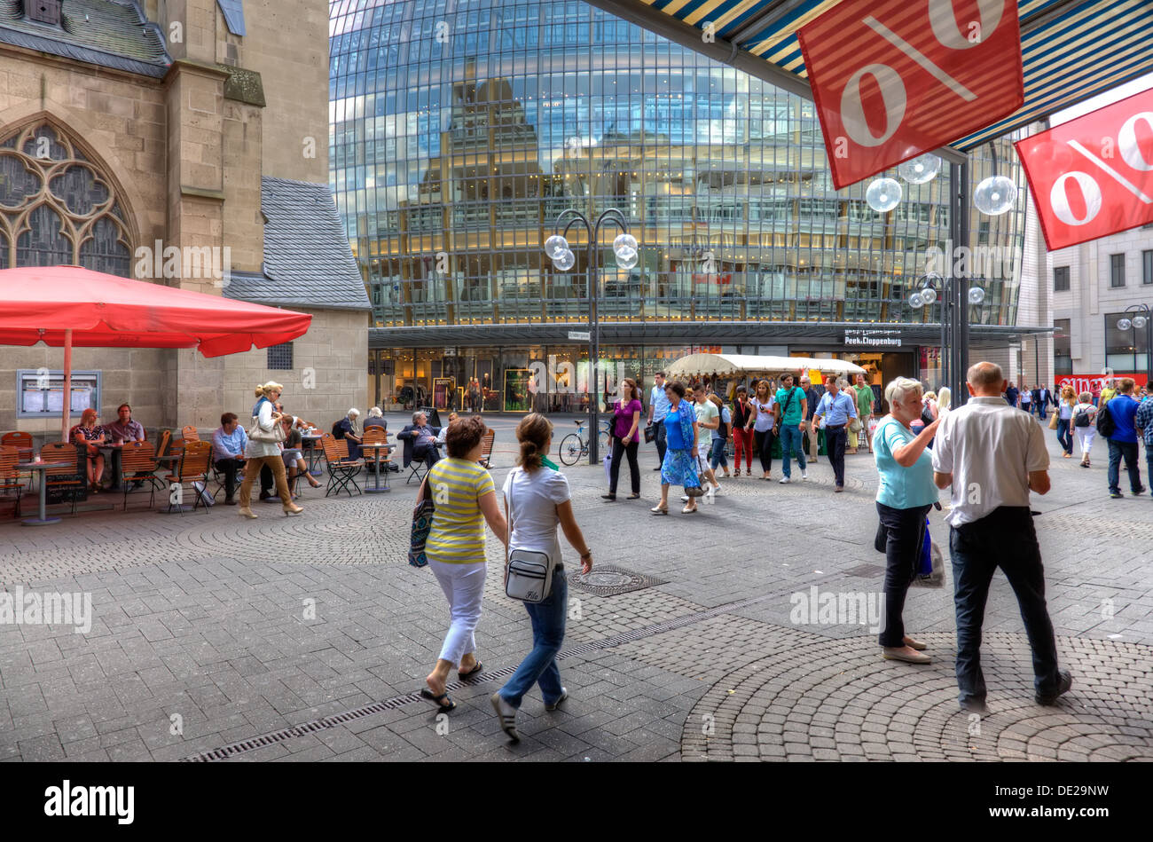 Pedestrian shopping street in Cologne, Germany. - Stock Image