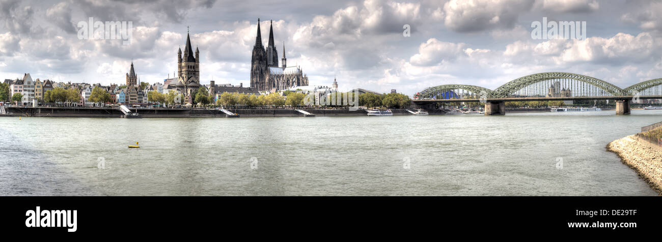 A wide HDR panorama of the Germany city of Cologne (Köln) and the river Rhein. Stock Photo