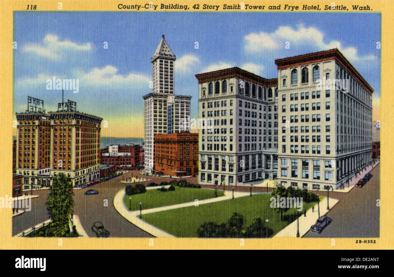 County-City Building, Smith Tower and Frye Hotel, Seattle, Washington, USA, 1942. - Stock Image