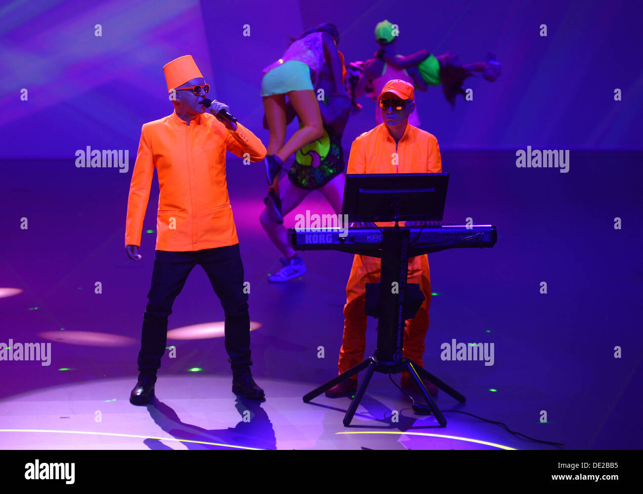 Frankfurt, Germany. 9th Sept, 2013.The band Pet Shop Boys performs at the Volkswagen group evening prior the Frankfurt Motor Show IAA in the Fraport Arena in Frankfurt/Main, Germany, 09 September 2013. Photo: ULI DECK Credit:  dpa picture alliance/Alamy Live News - Stock Image