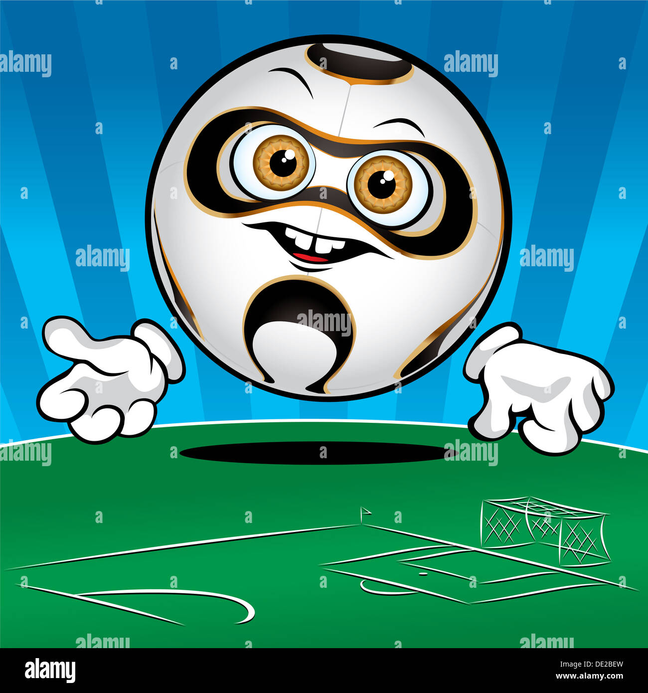 Funny smiling soccer ball on the bluegreen background - Stock Image