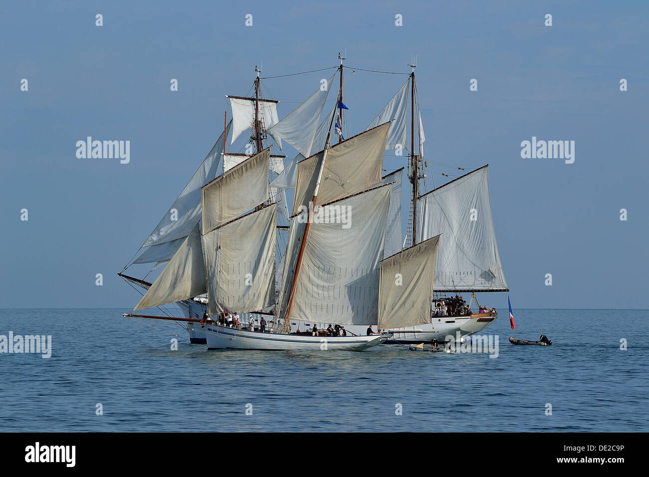 Granvillaise (Bisquine, old fishing boat, homeport : Granville) and Marité (three-masted schooner, 1921, homeport : Granville). Stock Photo