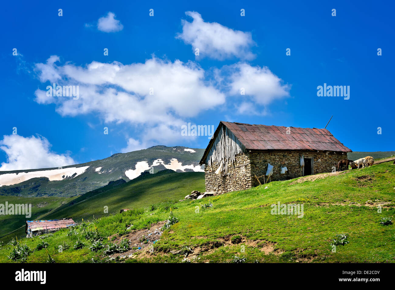 Landscape in Macedonia: mountains, forests, meadows and a farm. - Stock Image