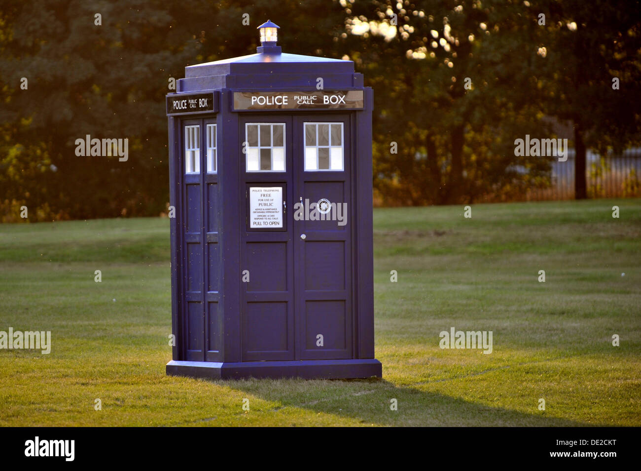 CARDIFF, UK. 10th September 2013. Doctor Who filming the Christmas Special episode on location in Lydstep Park, Gabalfa, Cardiff. Photo shows the TARDIS. Credit:  Polly Thomas / Alamy Live News - Stock Image