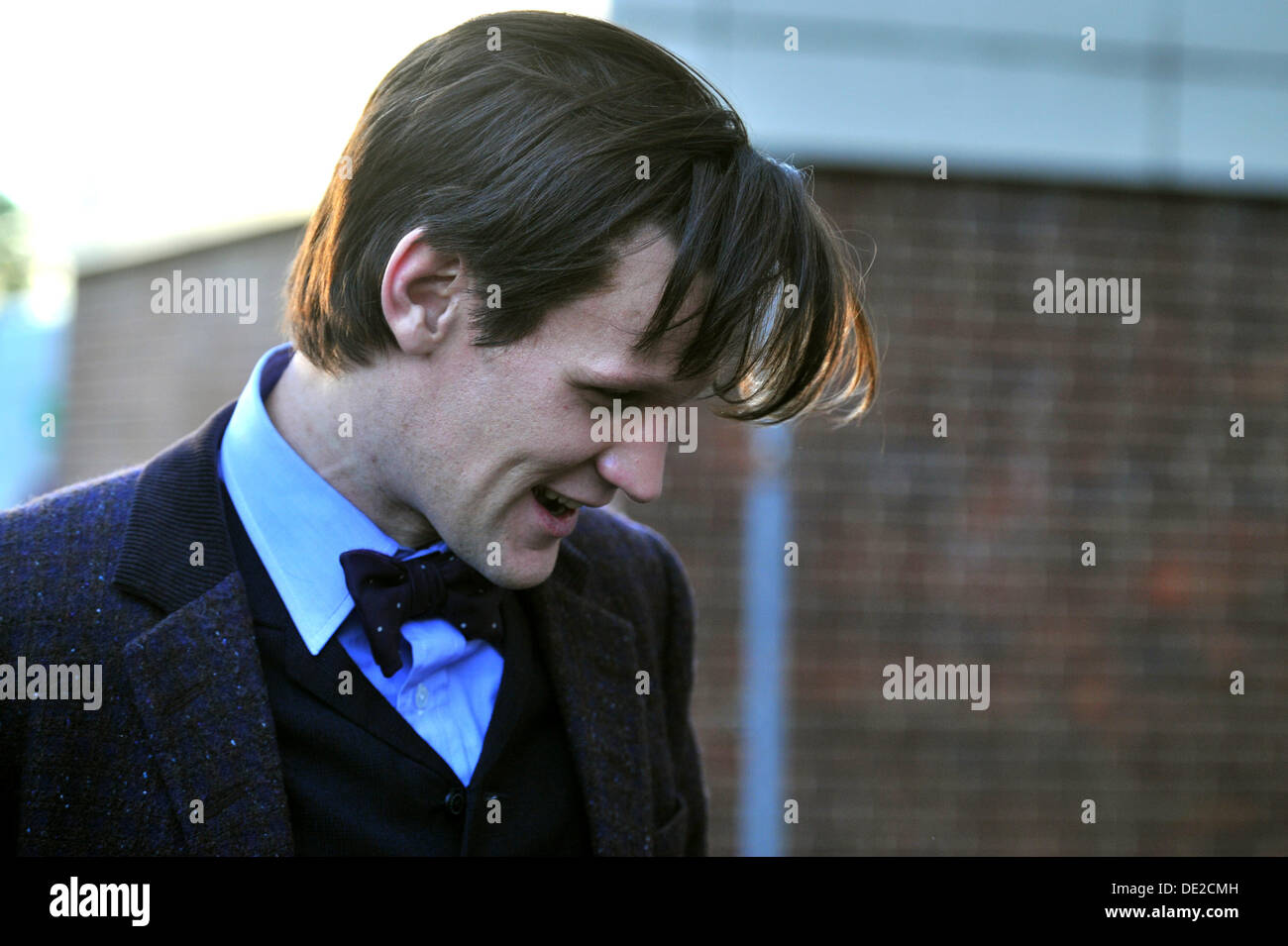 CARDIFF, UK. 10th September 2013. Doctor Who filming the Christmas Special episode on location in Lydstep Park, Gabalfa, Cardiff. Photo shows Matt Smith, who plays the Eleventh Doctor, leaving the set at the end of the day's filming. Credit:  Polly Thomas / Alamy Live News - Stock Image