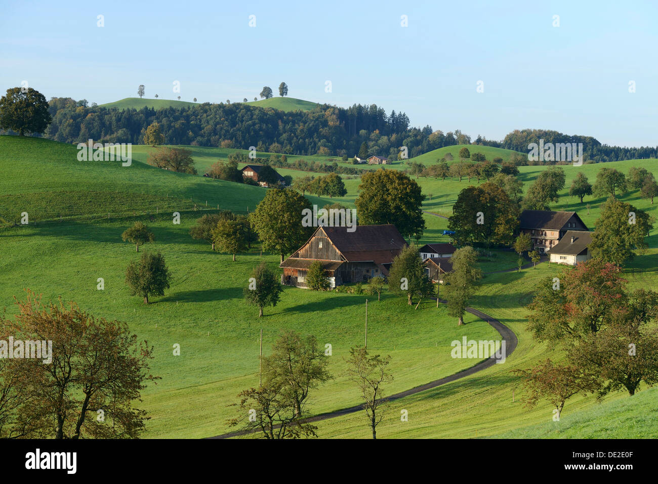 A farm in autumn, Schwand, Zug, Switzerland, Europe - Stock Image