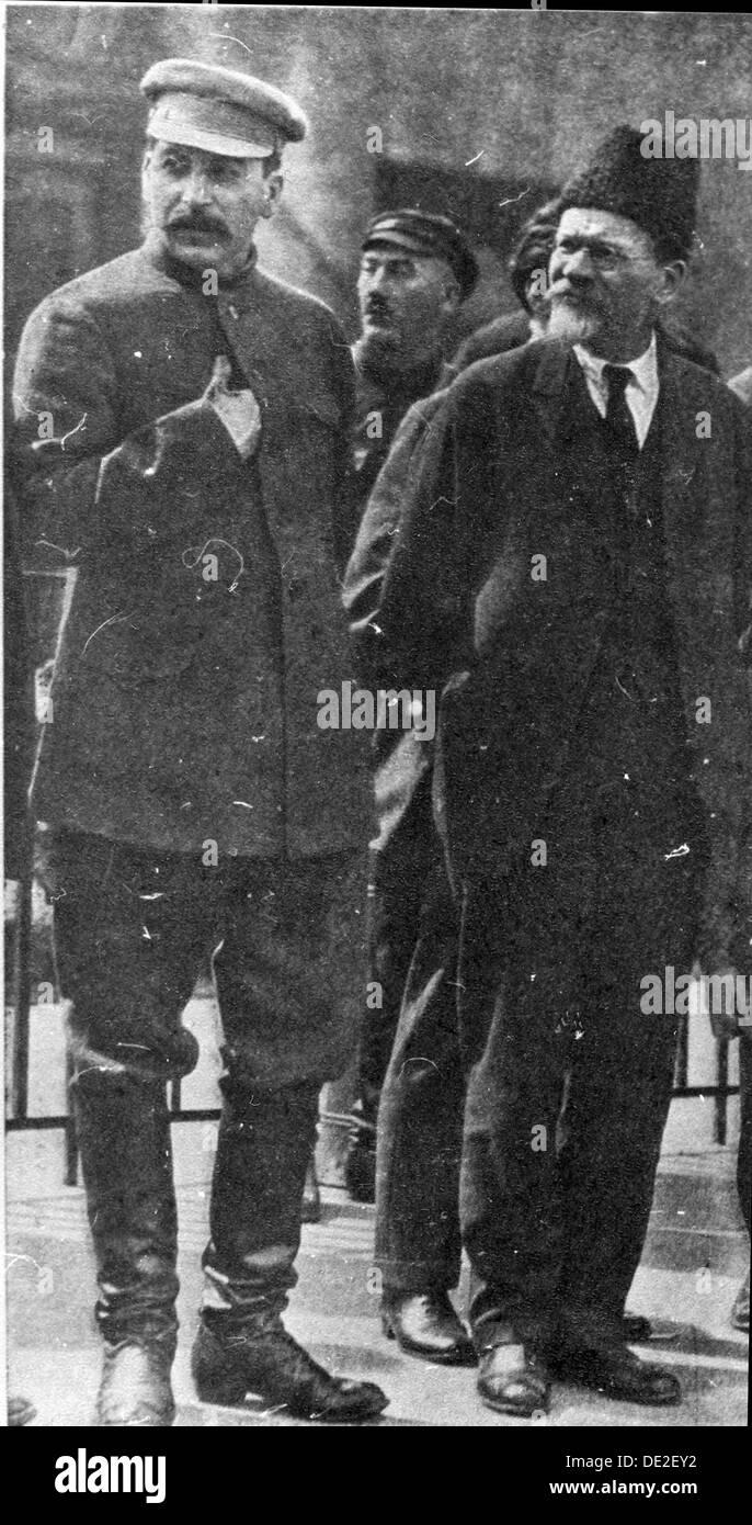 Josef Stalin and Mikhail Kalinin, Soviet leaders, 1930s. - Stock Image