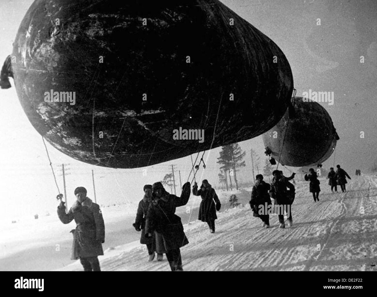 Barrage balloons near Moscow, USSR, World War II, 1941 - Stock Image