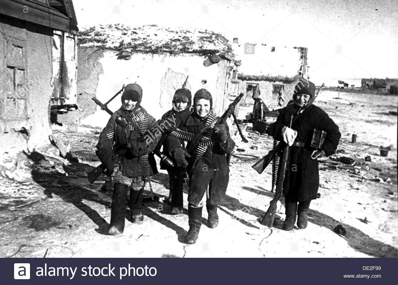 Child soldiers in the Stalingrad region, USSR, World War II, 1943. Artist: Anon - Stock Image