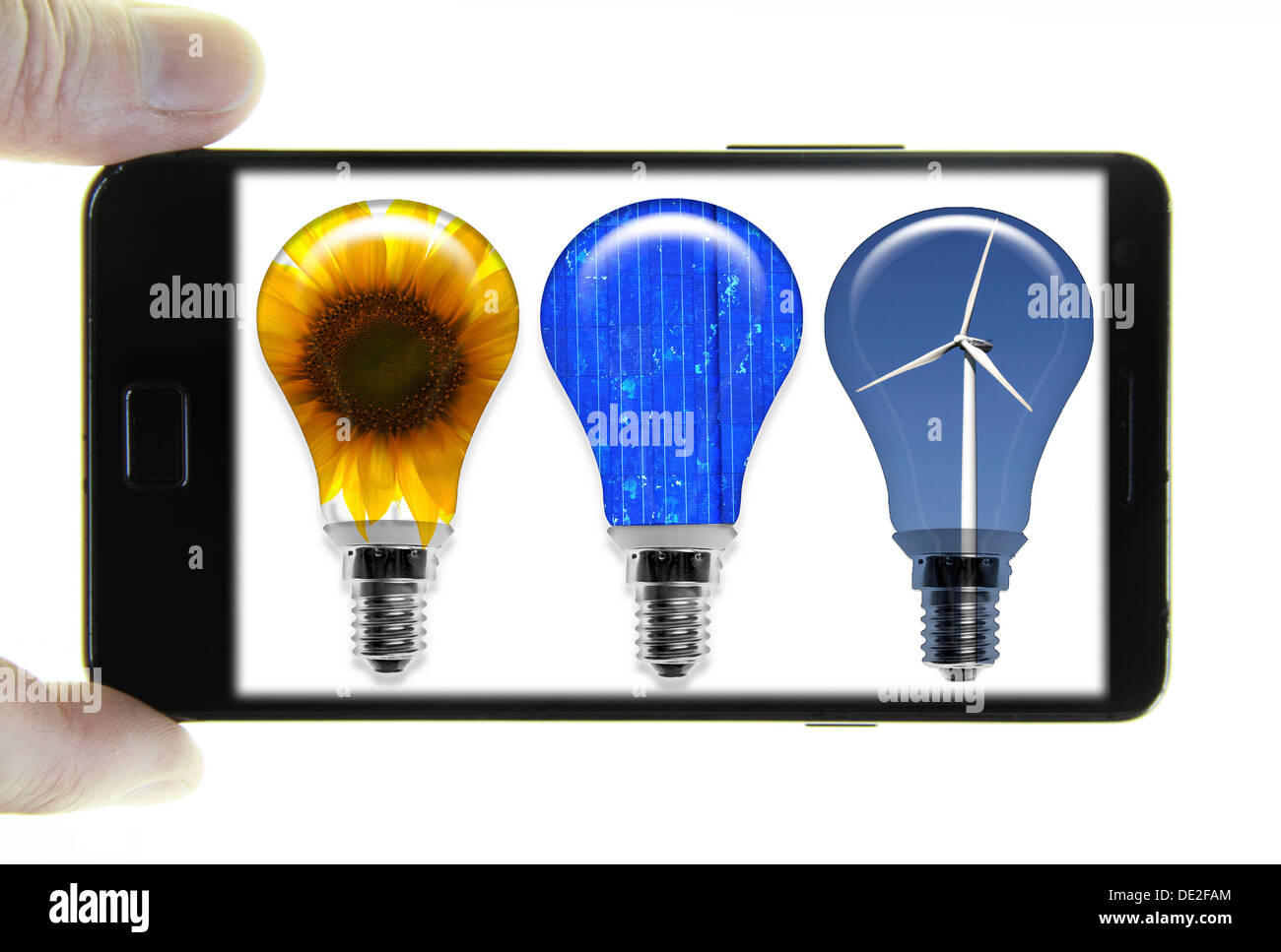 Mobile phone with a photo of light bulbs, symbolic image for Stock