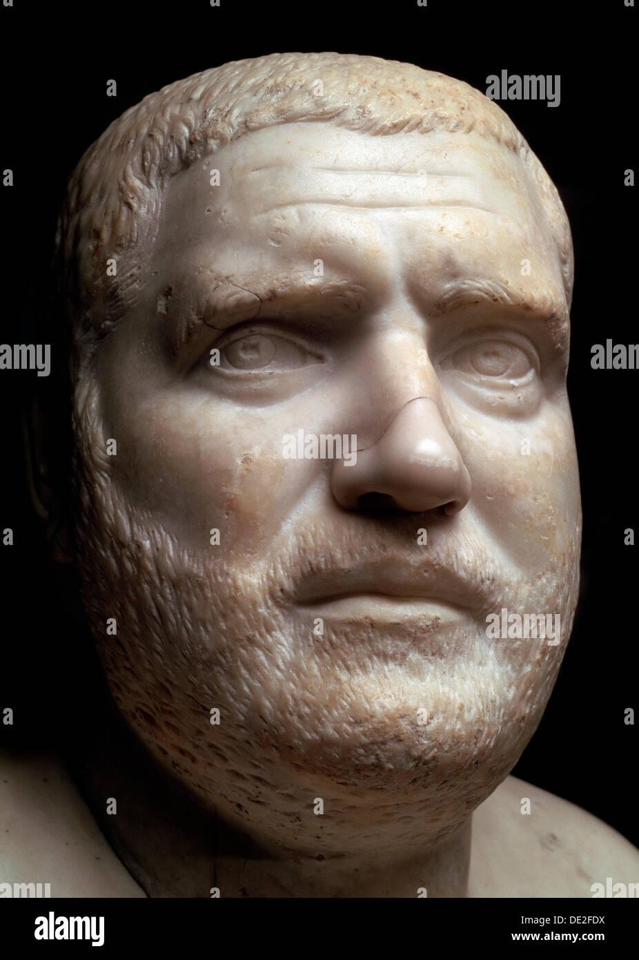 Marble portrait bust of the Roman Emperor Balbinus, 3rd century. - Stock Image